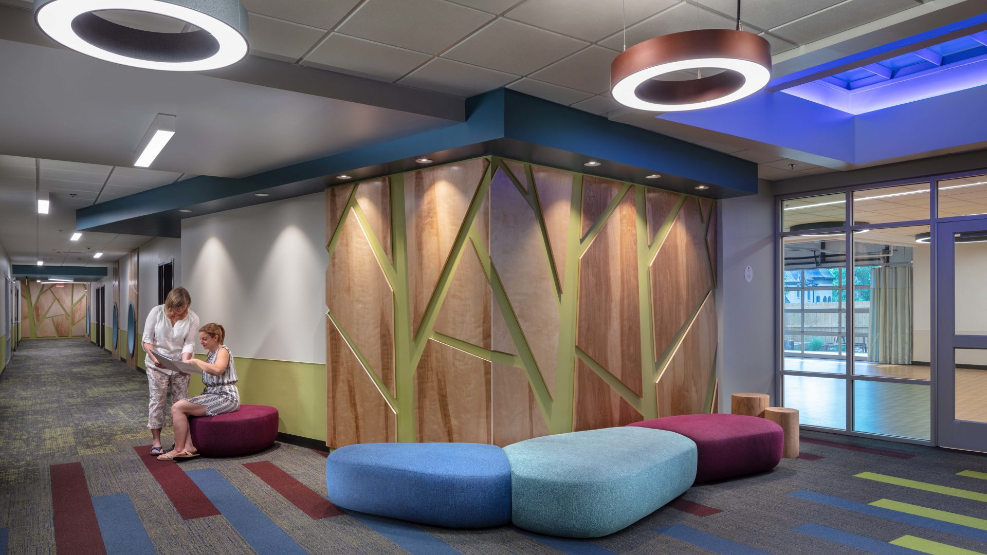 Breakout spaces are purposely positioned throughout the ELC